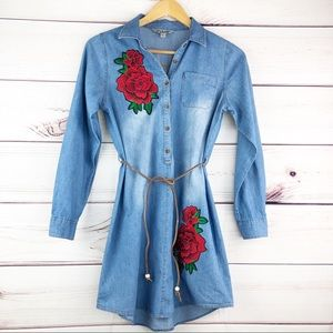 D303 JfJ Chambray Shirt Dress, Embroidered Roses